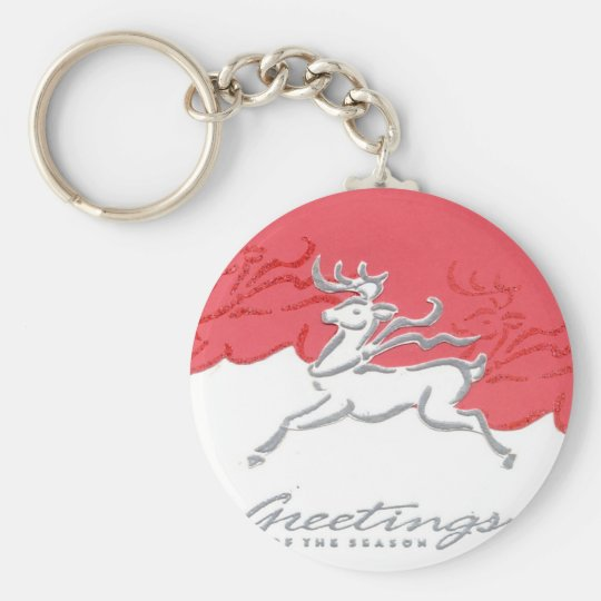 Christmas Greetings Reindeer Red White Holiday Art Keychain