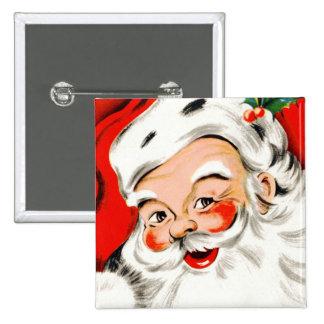 Christmas Greetings Santa Pinback Button
