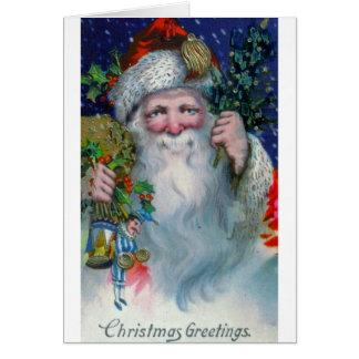 Christmas Greetings St. Nick Vintage Greeting Card