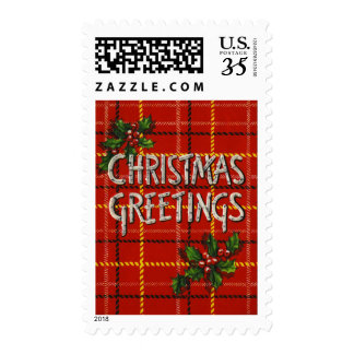 Christmas Greetings Stamps Plaid Holly Birch tree