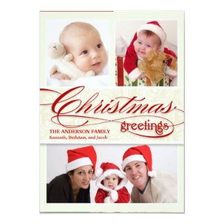 "Christmas Greetings Tri-Photo Flat Card - Ivory Re 5"" X 7"" Invitation Card"