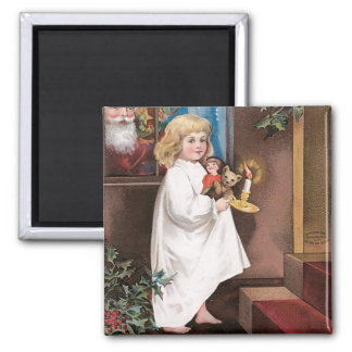 Christmas Greetings Vintage Christmas Card Design 2 Inch Square Magnet