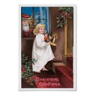 Christmas Greetings Vintage Christmas Card Design Poster