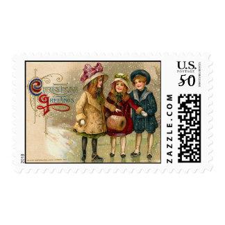 Christmas Greetings Vintage Christmas Stamps