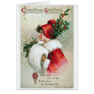 """Christmas Greetings"" Vintage Greeting Card"