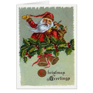 Christmas Greetings-Vintage Santa Claus Greeting Card