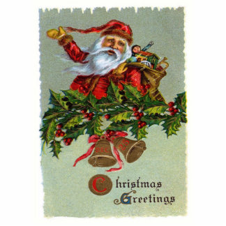 Christmas Greetings-Vintage Santa Claus Photo Cut Out