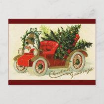 """Christmas Greetings"" Vintage Truck Christmas Tree Postcard"