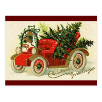 """Christmas Greetings"" Vintage Truck Christmas Tree Postcard"