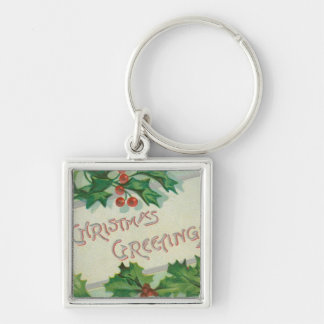 Christmas Greetings with Holly Keychain