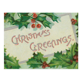 Christmas Greetings with Holly Postcard