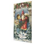 Christmas GreetingSanta and Record Player Canvas Print