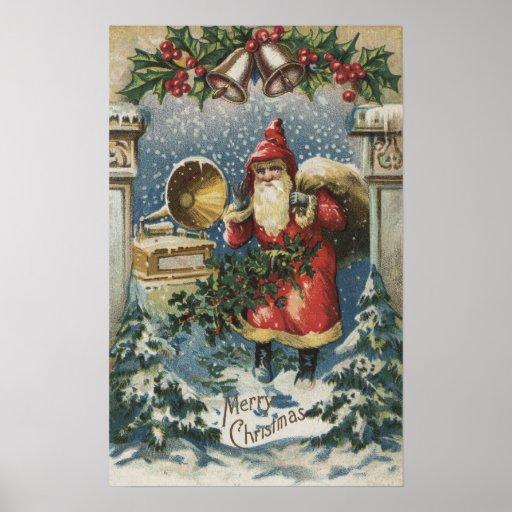 Christmas GreetingSanta and Record Player Poster