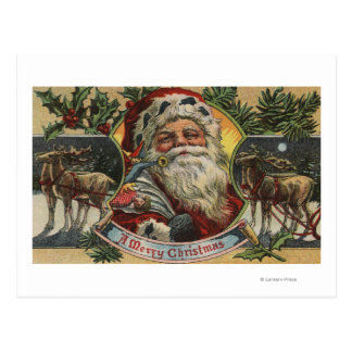 Christmas GreetingSanta and Reindeer Postcard