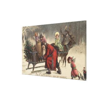 Christmas GreetingSanta and Sleigh Canvas Print