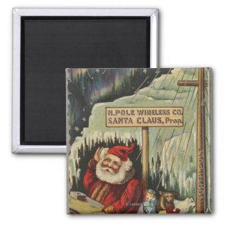 Christmas GreetingSanta at North Pole Refrigerator Magnets