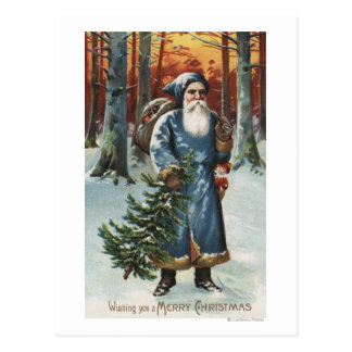 Christmas GreetingSanta in Blue Postcard