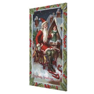 Christmas GreetingSanta on Sleigh Canvas Print
