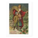 Christmas GreetingSanta Walking with Kids Postcard