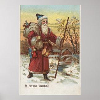Christmas GreetingSanta with Walking Stick Posters
