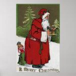 Christmas GreetingSanta with Wood Horse Poster