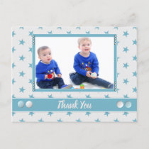 Christmas grey ice blue thank you for gifts photo announcement postcard