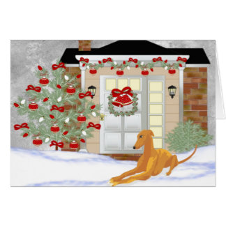 Christmas Greyhound Greeting Card