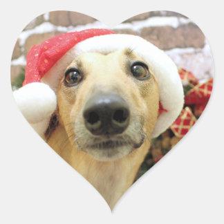 Christmas - Greyhound - Pena Heart Sticker