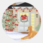 Christmas Greyhound Round Stickers