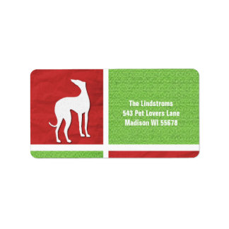 Christmas Greyhound Silhouette in Red and Green Label