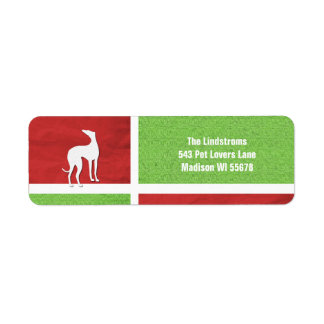 Christmas Greyhound Silhouette Personalized Label