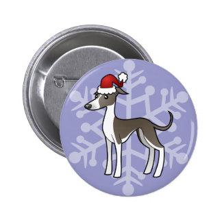 Christmas Greyhound / Whippet / Italian Greyhound 2 Inch Round Button