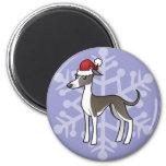 Christmas Greyhound / Whippet / Italian Greyhound 2 Inch Round Magnet