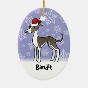 Christmas Greyhound Whippet Italian Ceramic Ornament