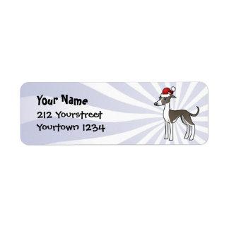 Christmas Greyhound / Whippet / Italian Greyhound Custom Return Address Label