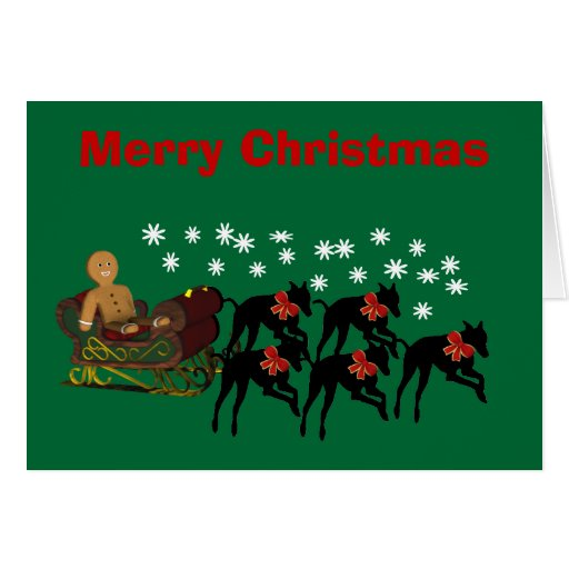 Christmas Greyhounds Pulling Sleigh Holiday Card