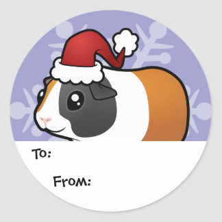 Christmas Guinea Pig Gift Tags (smooth hair) Classic Round Sticker