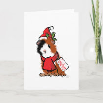Christmas Guinea Pig Greeting Holiday Card
