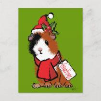 Christmas Guinea Pig Greeting Holiday Postcard