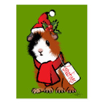 Christmas Guinea Pig Greeting Postcard