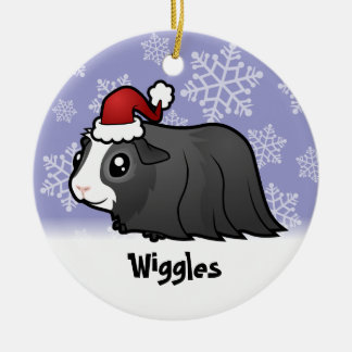 Christmas Guinea Pig (long hair) (add pets name) Double-Sided Ceramic Round Christmas Ornament