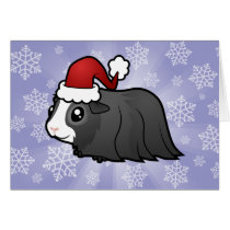 Christmas Guinea Pig (long hair) Card