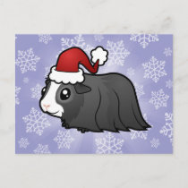 Christmas Guinea Pig (long hair) Holiday Postcard