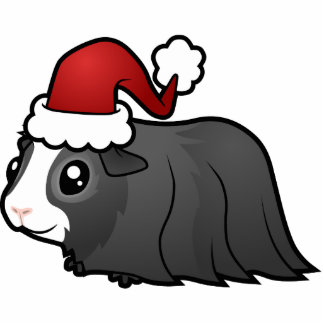 Christmas Guinea Pig Ornament (long hair)