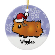 Christmas Guinea Pig (scruffy) (add pets name) Ceramic Ornament