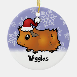 Christmas Guinea Pig (scruffy) (add pets name) Double-Sided Ceramic Round Christmas Ornament