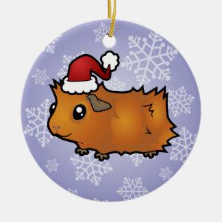 Christmas Guinea Pig (scruffy) Ceramic Ornament