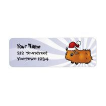 Christmas Guinea Pig (scruffy) Label