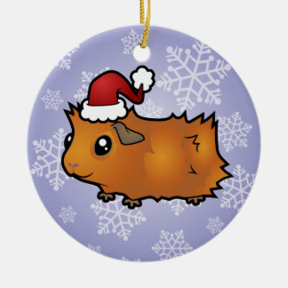 Christmas Guinea Pig (scruffy) Double-Sided Ceramic Round Christmas Ornament