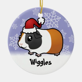 Christmas Guinea Pig (smooth hair) (add name) Double-Sided Ceramic Round Christmas Ornament
